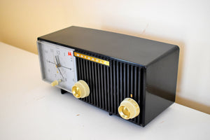 Obsidian Black 1956 Motorola 56CE1A Vacuum Tube AM Clock Retro Radio Excellent Plus Working and Physical Condition!