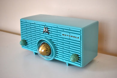 Aquamarine Turquoise 1957 Motorola Model 56H Vintage Vacuum Tube AM Radio Iconic Turbine Design!