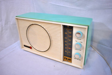Ocean Breeze Turquoise and White 1963 Olympic Model AFM-20 Tube AM FM Radio Sounds Heavenly!
