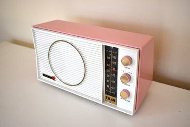 Tuscadero Pink and White 1963 Olympic Model AFM-20 Vacuum Tube AM FM Radio Sounds Beautiful!