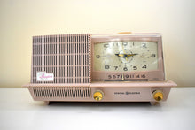 Load image into Gallery viewer, Dusty Pink 1958 General Electric Model C421A Vacuum Tube AM Clock Radio Near Mint!