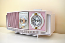 Load image into Gallery viewer, Pink and White Delight Mid-Century 1963 Motorola Model C19B25 Vacuum Tube AM Clock Radio Soft Color Combo!