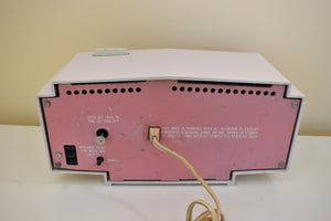 Pink and White Delight Mid-Century 1963 Motorola Model C19B25 Vacuum Tube AM Clock Radio Soft Color Combo!
