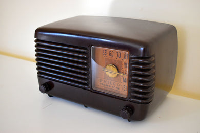 Art Deco Brown Bakelite Vintage 1949 Philco Transitone 49-500 AM Radio Popular Design Back In Its Day!