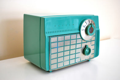 Ranger Green Vintage 1956 Philco Model D593-124 AM Vacuum Tube Radio Rare Sweet Color and Sounding!
