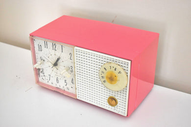 Hot Pink 1959 Philco Model F743-124 AM Vacuum Tube Clock Radio Rare Color Sounds Great!
