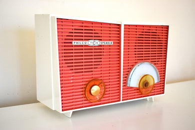Coral and White Chevron Retro Jetsons Vintage 1957 Philco H836-124 AM Vacuum Tube Radio Excellent Condition!