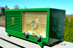 SOLD! - April 14, 2014 - KELLY GREEN Atomic Age Vintage 1955 Philco Model 124 Tube AM Radio WORKS! , Vintage Radio - Philco, Retro Radio Farm  - 3