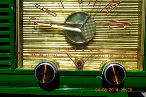 SOLD! - April 14, 2014 - KELLY GREEN Atomic Age Vintage 1955 Philco Model 124 Tube AM Radio WORKS! - [product_type} - Philco - Retro Radio Farm