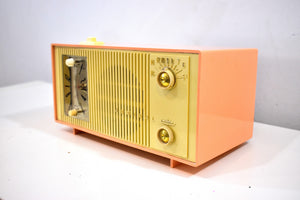 Bluetooth Ready To Go - Peaches Cream 1959 Admiral Model Y865C Vacuum Tube AM Radio Sounds Great! Looks Great!