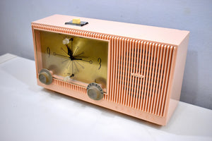 Begonia Pink 1959 Admiral Y3154 Vintage Atomic Age Vacuum Tube AM Radio Clock Sounds Looks Great!