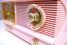 Load image into Gallery viewer, Powder Pink Vintage Antique Mid Century 1961 Coronado Vacuum Tube AM Clock Radio Restored and Very Rare!