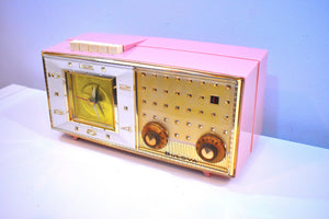 Parisienne Pink 1960 Bulova Model 190 Vacuum Tube AM Clock Radio Mid Century Bling!