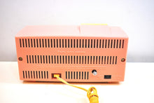Load image into Gallery viewer, Parisienne Pink 1960 Bulova Model 190 Vacuum Tube AM Clock Radio Mid Century Bling!