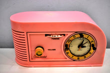 Load image into Gallery viewer, Savoy Pink Golden Age Art Deco 1948 Continental Model 1600 AM Vacuum Tube Clock Radio She's A Bombshell!