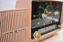 Load image into Gallery viewer, Pastel Pink 1957 General Electric Model 913D Vacuum Tube AM Clock Radio Real Looker Near Mint Condition!