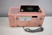 Load image into Gallery viewer, Princess Pink Mid Century 1959 General Electric Model 915 Vacuum Tube AM Clock Radio Beauty Sounds Fantastic!