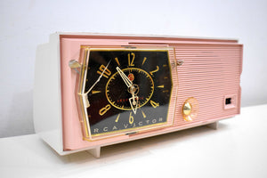 Princess Pink Mid Century Retro RCA Victor C-51F 1959 Clock Radio Sounds Great!