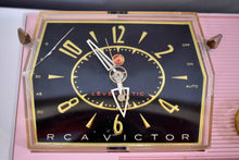 Load image into Gallery viewer, Princess Pink Mid Century Retro RCA Victor C-51F 1959 Clock Radio Sounds Great!