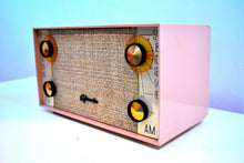 Load image into Gallery viewer, Beige Pink And Tweed Mid Century 1960 Sylvania 8F15 AM/FM Vacuum Tube Radio Rare Sounds and Looks Great!