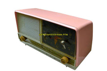 Load image into Gallery viewer, SOLD! - Sept 18, 2018 - Beautiful Powder Pink And White Retro Jetsons 1956 RCA Victor 9-C-71 Tube AM Clock Radio Works Great!