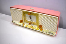 Load image into Gallery viewer, Bonneville Pink 1958 Silvertone Model 9029 AM Clock Radio Dual Speaker Rare Excellent Condition Bells and Whistles!