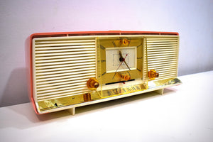 Bonneville Pink 1958 Silvertone Model 9029 AM Clock Radio Dual Speaker Rare Excellent Condition Bells and Whistles!