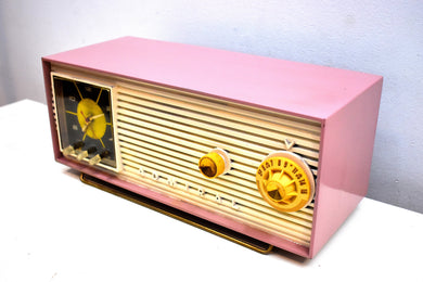 Mauve Pink and Ivory 1955 Admiral Model 5H47N Vintage Atomic Age Vacuum Tube AM Radio Clock Sounds Looks Great!