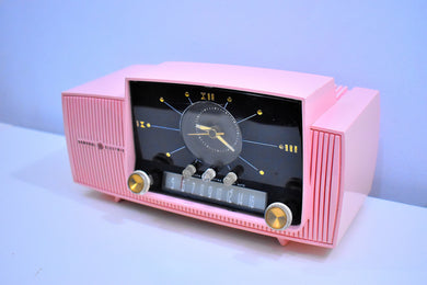 Princess Pink Mid Century 1959 General Electric Model 913 Vacuum Tube AM Clock Radio Beauty Sounds Fantastic!