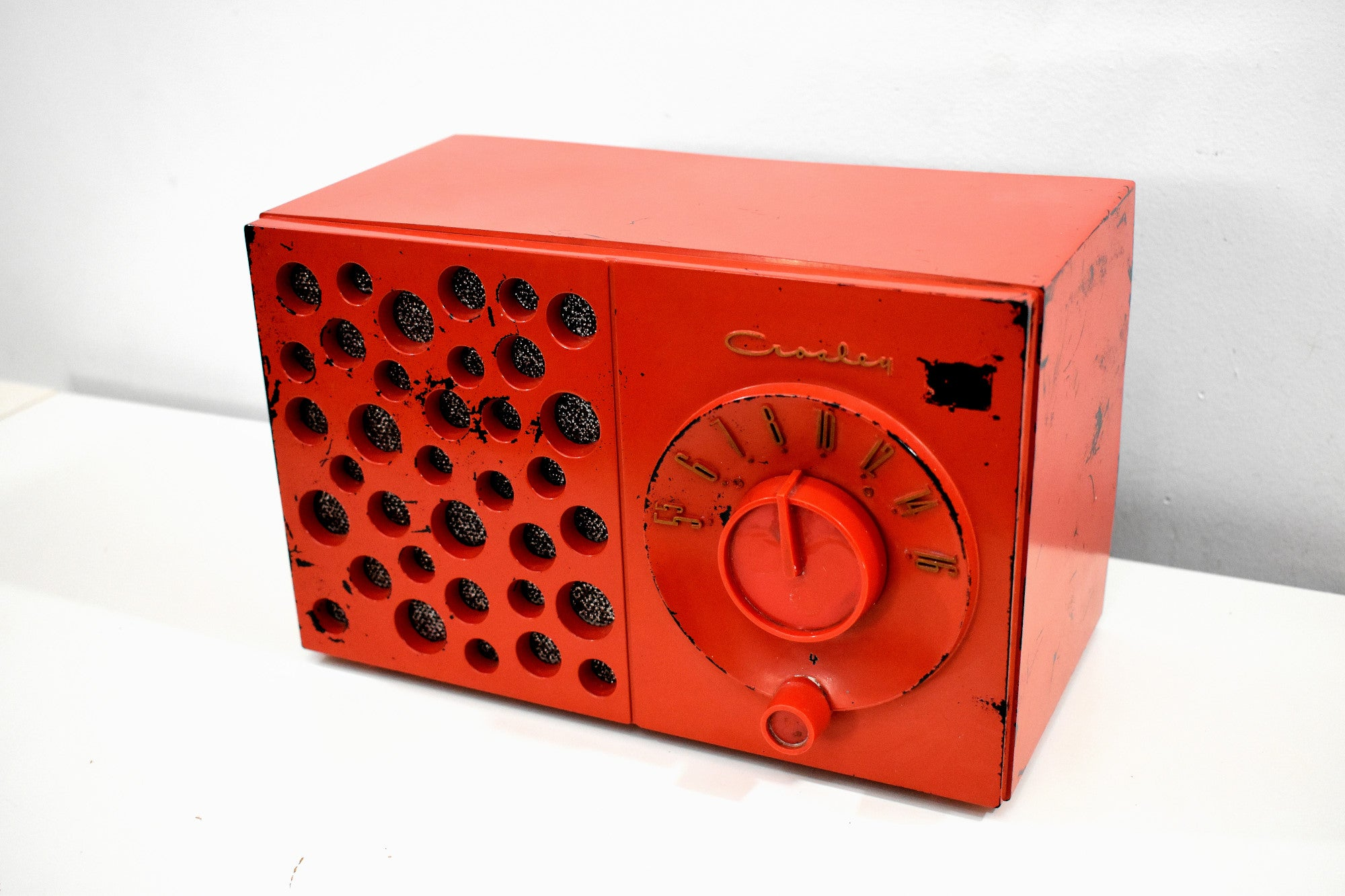 Raconteur Red 1953 Crosley Model JT-3 AM Tube Radio Swiss Cheese Grill, Not Cheesy At All