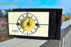 SOLD! - Jan 9, 2016 - SHABBY CHIC Black and White Mid Century Retro Bakelite 50s Knight AM Clock Radio Totally Restored! , Vintage Radio - Knight, Retro Radio Farm  - 2