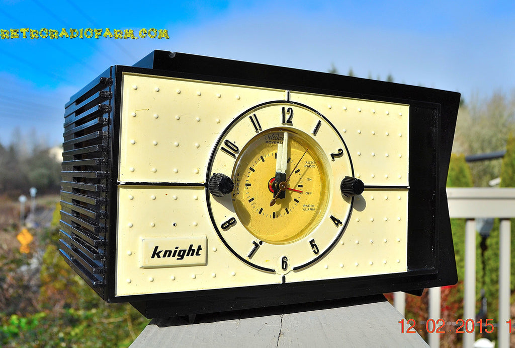 SOLD! - Jan 9, 2016 - SHABBY CHIC Black and White Mid Century Retro Bakelite 50s Knight AM Clock Radio Totally Restored! , Vintage Radio - Knight, Retro Radio Farm  - 1