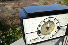 SOLD! - Jan 9, 2016 - SHABBY CHIC Black and White Mid Century Retro Bakelite 50s Knight AM Clock Radio Totally Restored! , Vintage Radio - Knight, Retro Radio Farm  - 7