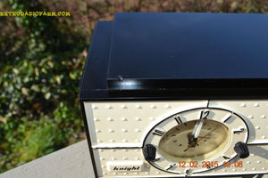 SOLD! - Jan 9, 2016 - SHABBY CHIC Black and White Mid Century Retro Bakelite 50s Knight AM Clock Radio Totally Restored! - [product_type} - Knight - Retro Radio Farm