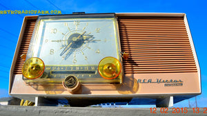 SOLD! - March 27, 2014 - TAN and White Retro Jetsons Vintage 1957 RCA 1-X-5KE AM Tube Clock Radio Totally Restored! - [product_type} - RCA Victor - Retro Radio Farm