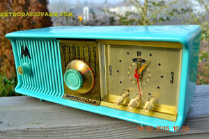 SOLD! - Feb 21, 2016 - VIVID Turquoise Retro Jetsons 1957 Motorola 57CC Tube AM Clock Radio Totally Restored! - [product_type} - Motorola - Retro Radio Farm