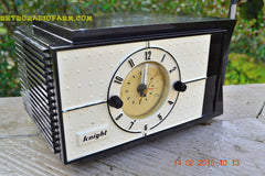 SOLD! - Jan 9, 2016 - SHABBY CHIC Black and White Mid Century Retro Bakelite 50s Knight AM Clock Radio Totally Restored! , Vintage Radio - Knight, Retro Radio Farm  - 3