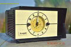 SOLD! - Jan 9, 2016 - SHABBY CHIC Black and White Mid Century Retro Bakelite 50s Knight AM Clock Radio Totally Restored! , Vintage Radio - Knight, Retro Radio Farm  - 10