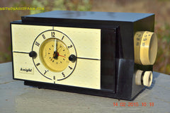 SOLD! - Jan 9, 2016 - SHABBY CHIC Black and White Mid Century Retro Bakelite 50s Knight AM Clock Radio Totally Restored! , Vintage Radio - Knight, Retro Radio Farm  - 11