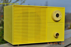 SUNNY BUTTER YELLOW Mid Century Retro Jetsons Vintage 1959 Emerson Model Y2996 Tube Radio Totally Restored! , Vintage Radio - Emerson, Retro Radio Farm  - 2