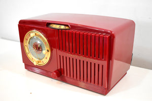 Bluetooth Ready To Go - Cranberry Red 1951 General Electric Model 517 Vacuum Tube AM Radio Sounds Great! Looks Great!