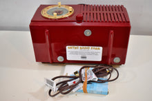 Load image into Gallery viewer, Bluetooth Ready To Go - Cranberry Red 1951 General Electric Model 517 Vacuum Tube AM Radio Sounds Great! Looks Great!