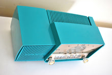 Load image into Gallery viewer, Seafoam Green Mid Century 1959 General Electric Model 913 Vacuum Tube AM Clock Radio Beauty Rare Color Much Sought After!