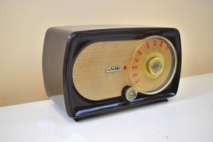 Siena Brown Bakelite 1955 Arvin Model 856T Vacuum Tube AM Radio Outstanding Condition and Sounds Like A Champ!