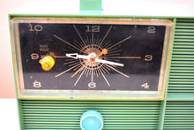 Load image into Gallery viewer, Sea Green Silvertone 1966 Model 6032 AM Vacuum Tube Clock Radio Sounds Great! Very Rare Color!