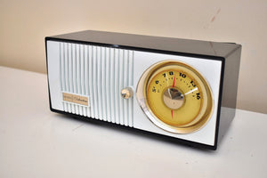 Bluetooth Ready To Go - Black and White 1965 Silvertone Model 5002 Vacuum Tube AM Radio Sounds Great Excellent Condition!