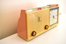 Load image into Gallery viewer, Savoy Pink 1959 Sylvania Model 2305TU Vacuum Tube AM Clock Radio Top Line No Expense Spared Model!