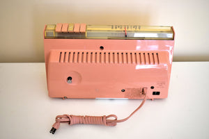 Savoy Pink 1959 Sylvania Model 2305TU Vacuum Tube AM Clock Radio Top Line No Expense Spared Model!