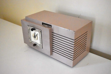 Lavender Taupe Art Deco Vintage 1948 Telechron Model 8H67 Musalarm AM Clock Radio Works Great!