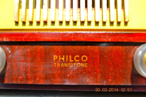 SOLD! - April 7, 2014 - RARE WOOD Retro Vintage Deco 1952 Philco 52-550 Tube AM Clock Radio WORKS! - [product_type} - Philco - Retro Radio Farm